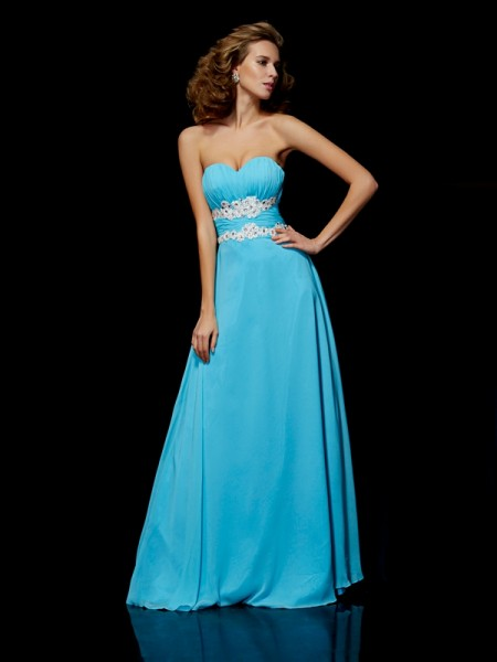A-Line/Princess Sleeveless Sweetheart Chiffon Long Prom/Evening Dresses with Applique
