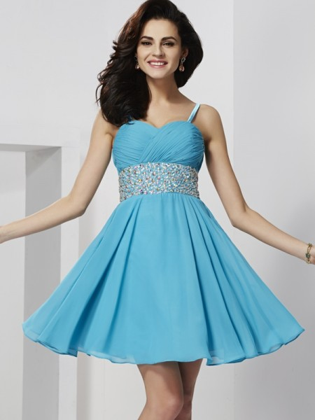 Princess Sleeveless Spaghetti Straps Chiffon Short Cocktail/Homecoming Dresses with Rhinestone