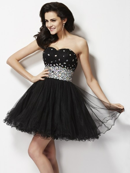 Princess Sweetheart Sequin Short/Mini Elastic Woven Satin Dresses with Beading