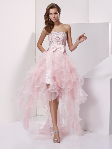 Princess Organza Strapless Asymmetrical Sleeveless Dresses with Beading