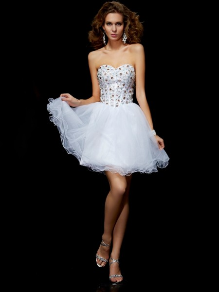 Column Sweetheart Sleeveless Elastic Woven Satin Short Cocktail/Homecoming Dresses