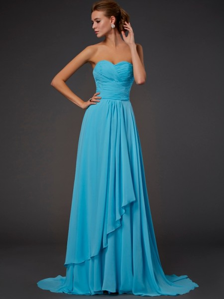 A-line/Princess Sleeveless Sweetheart Sweep/Brush Train Chiffon Dresses with Pleats