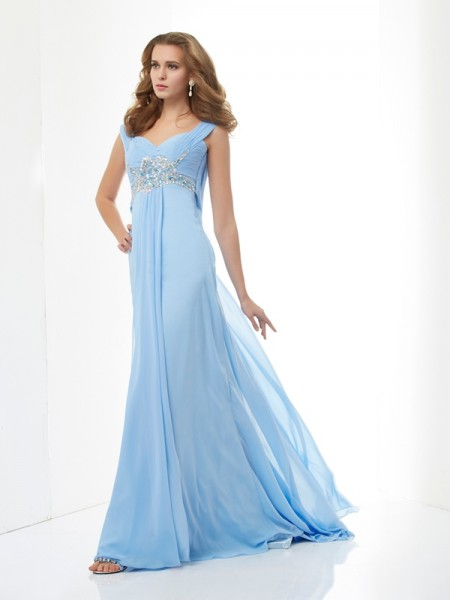 Princess Sweetheart Chiffon Sweep/Brush Train Dresses with Beading