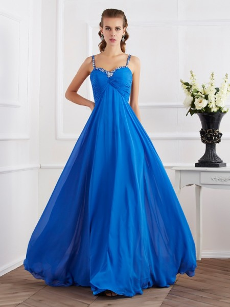 Princess Spaghetti Straps Sleeveless Floor-Length Chiffon Dresses with Applique