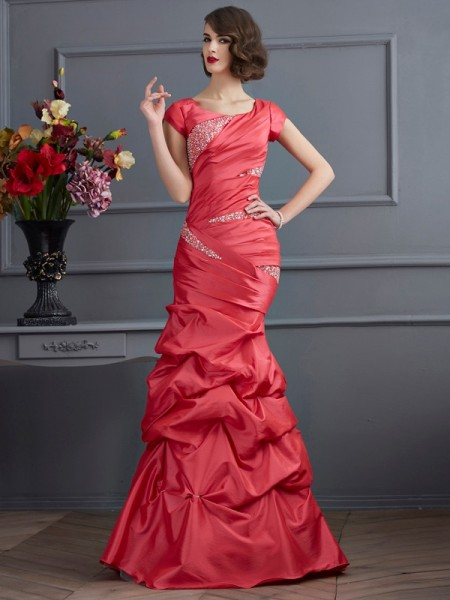 Trumpet/Mermaid Scoop Short Sleeves Floor-Length Taffeta Prom/Evening Dresses with Beading