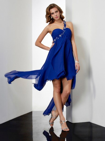 Princess Asymmetrical One-Shoulder Chiffon Sleeveless Homecoming Dresses with Beading