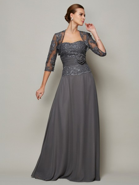 Princess Chiffon Sleeveless Sweetheart Floor-Length Mother Of The Bride Dresses with Applique