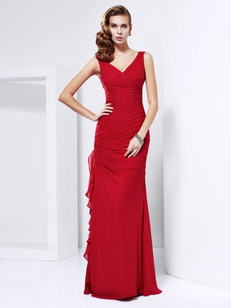 Sheath/Column Chiffon Sleeveless Floor-Length V-neck Dresses
