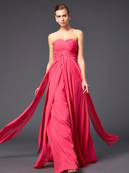 Princess Floor-Length Sweetheart Chiffon Prom/Evening Dresses with Pleats