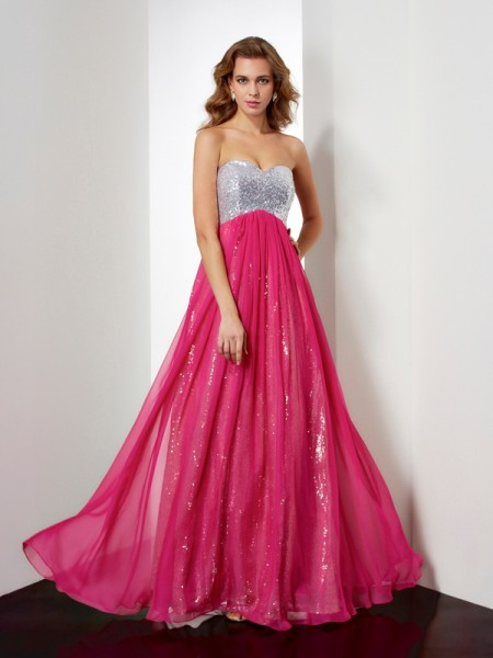 Princess Sweetheart Sleeveless Chiffon Long Dresses with Beading