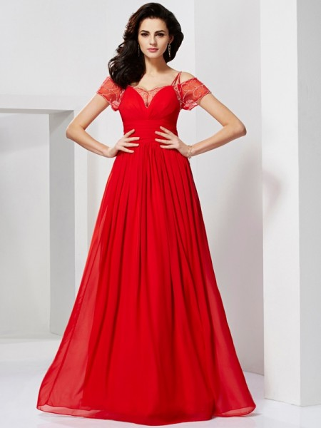 A-line/Princess Spaghetti Straps Chiffon Floor-length Short Sleeves Dresses