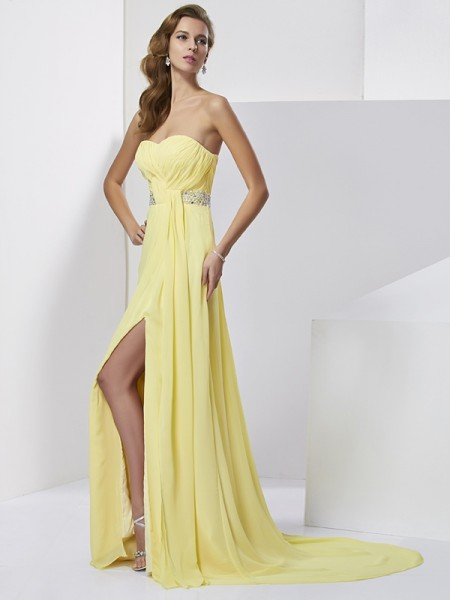 Column Sweetheart Sleeveless Sweep/Brush Train Chiffon Prom/Evening Dresses with Beading