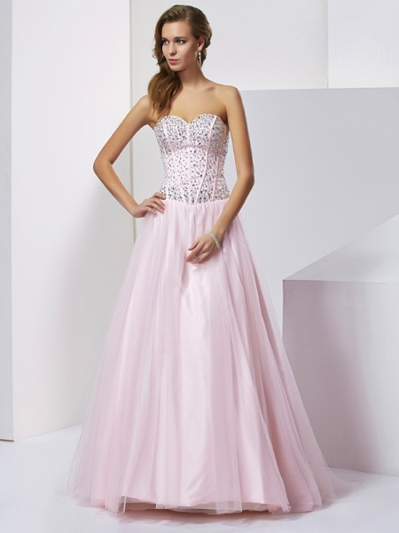 Ball Gown Sweetheart Sleeveless Floor-Length Satin Evening/Prom/Formal Dresses with Beading