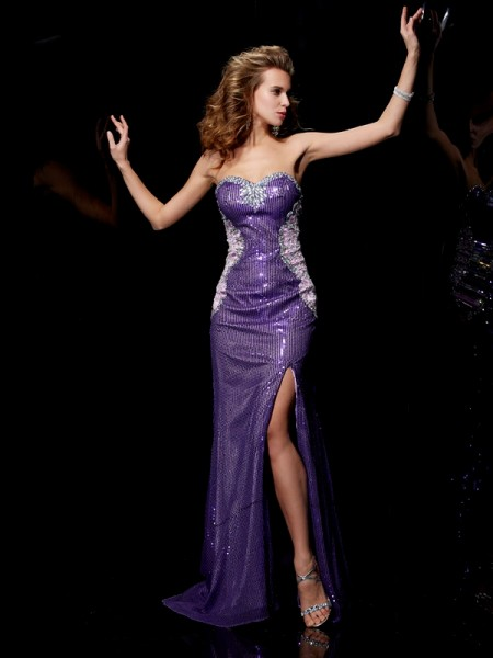 Column Sweetheart Sleeveless Elastic Woven Satin Sweep/Brush Train Prom/Evening Dresses