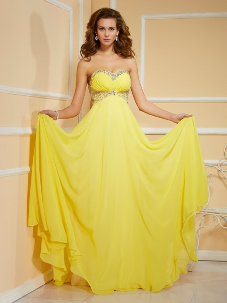 Sheath/Column Sweetheart Sleeveless Floor-Length Chiffon Dresses with Rhinestone