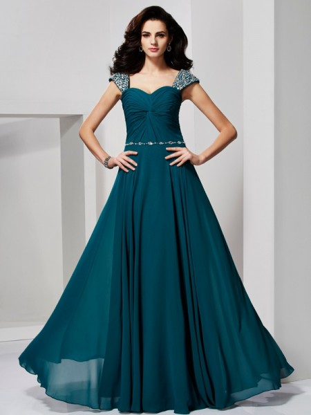 A-Line/Princess Sweetheart Sleeveless Off-the-Shoulder Chiffon Dresses