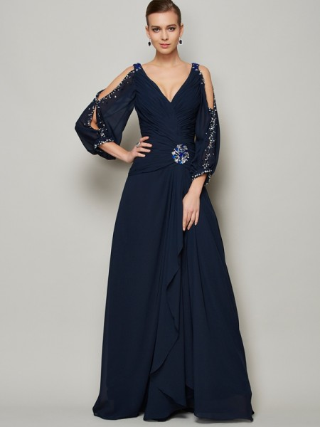 Princess V-neck Long Sleeves Chiffon Prom/Evening Dresses with Beading
