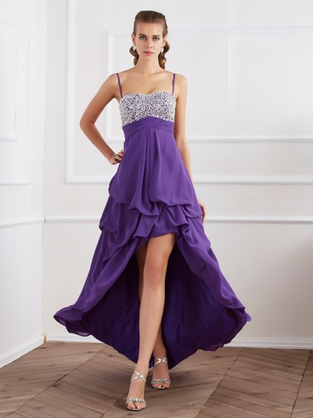 A-Line/Princess Sleeveless Spaghetti Straps Floor-Length Chiffon Formal Dresses with Beading