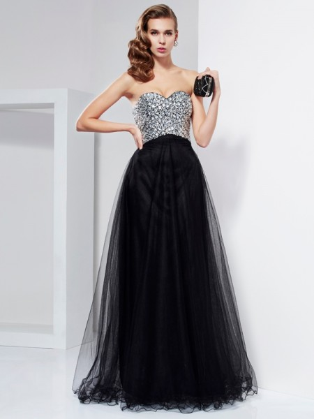 A-Line/Princess Floor-Length Strapless Crystal Beaded Elastic Woven Satin Dresses