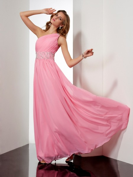 A-Line/Princess Chiffon One-Shoulder Sleeveless Long Dresses with Beading