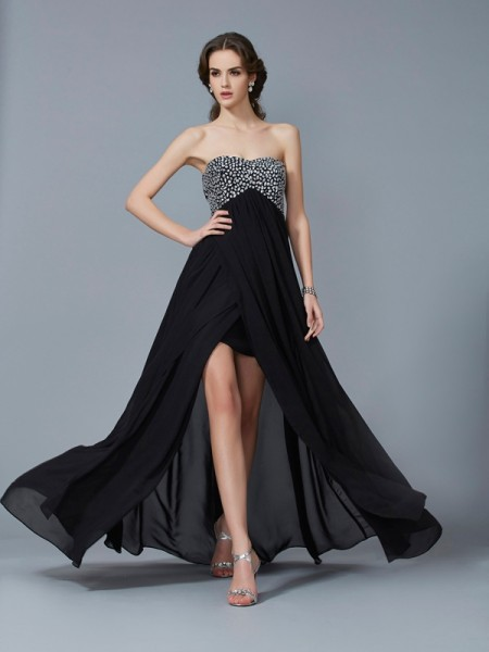 Princess Sweetheart Sleeveless Floor-Length Chiffon Dresses with Beading