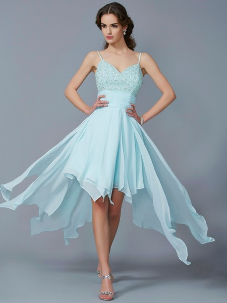 Princess Spaghetti Straps Sleeveless Chiffon Asymmetrical Dresses with Beading