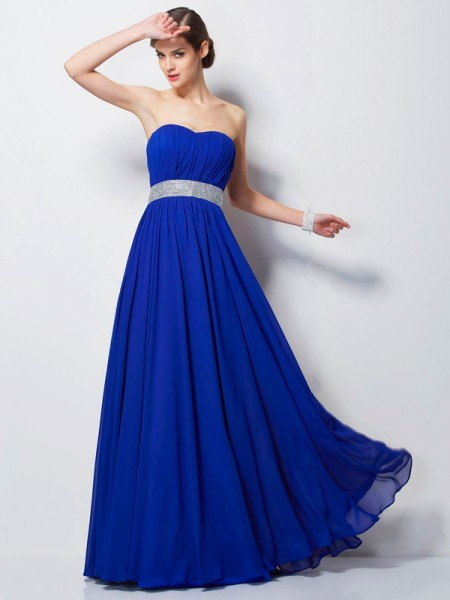 Empire Sweetheart Sleeveless Floor-Length Chiffon Prom/Evening Dresses with Beading