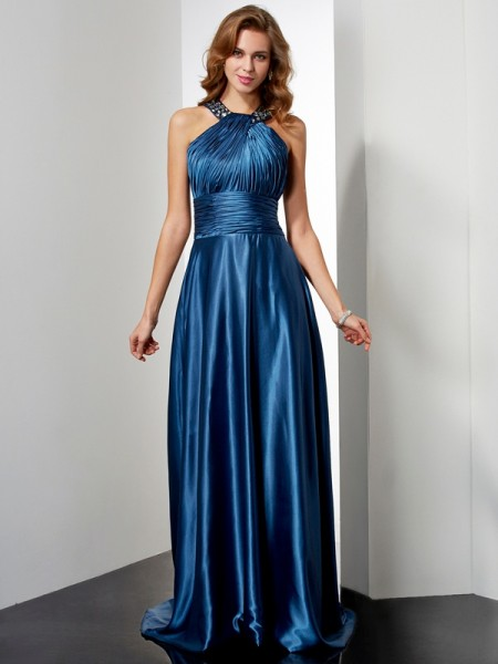 A-Line/Princess Elastic Woven Satin Sleeveless Halter Floor-Length Dresses with Beading