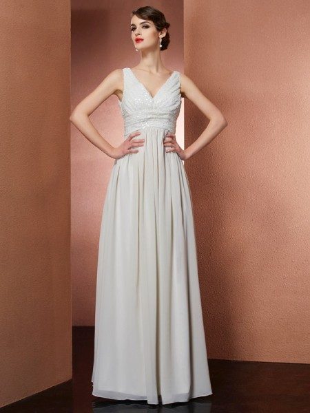 Princess V-Neck Sleeveless Floor-Length Chiffon Dresses