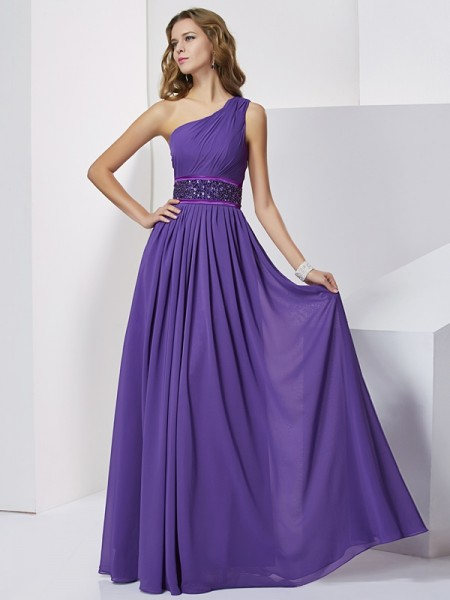 Empire Sleeveless One-Shoulder Floor-Length Chiffon Dresses with Beading