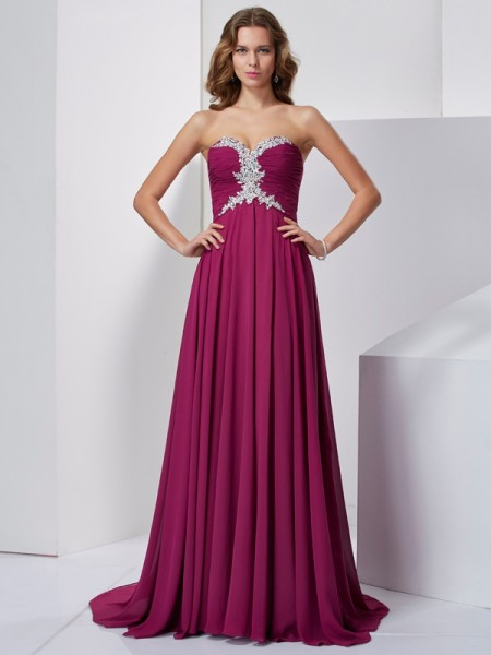 Princess Sleeveless Sweetheart Sweep/Brush Train Chiffon Dresses with Beading