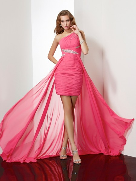 Column One-Shoulder Sleeveless Chiffon Short Cocktail/Homecoming Dresses with Beading