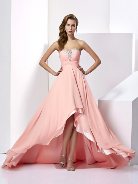 Princess Chiffon Sweetheart Sweep/Brush Train Dresses with Beading