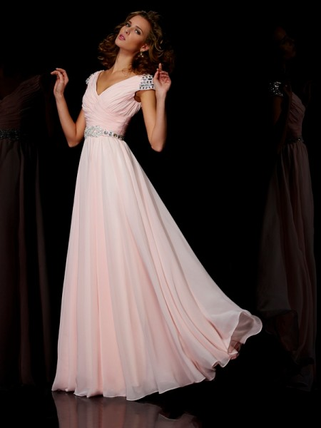 Princess V-neck Floor-length Short Sleeves Chiffon Dresses with Beading