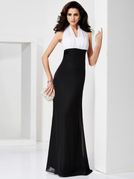 Trumpet/Mermaid Floor-length Chiffon Halter Sleeveless Dresses with Pleats