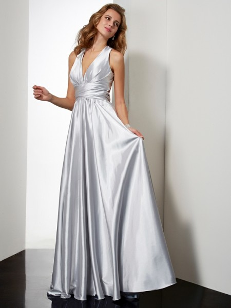 Princess Sleeveless Floor-Length Halter Elastic Woven Satin Dresses with Pleats