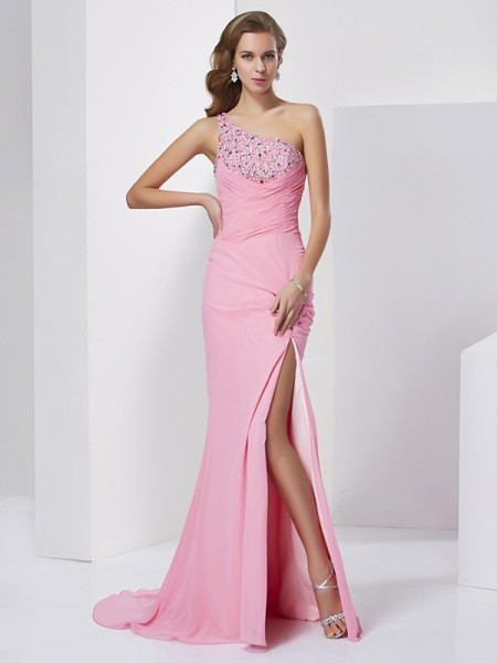 Sheath/Column Sleeveless One-Shoulder Sweep/Brush Train Chiffon Dresses with Beading