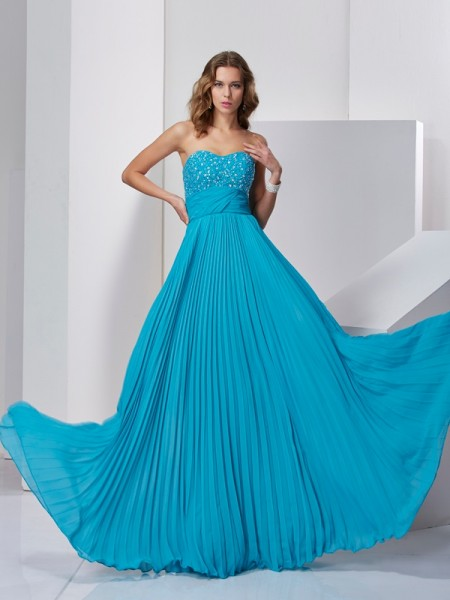 Princess Sleeveless Sweetheart Floor-Length Chiffon Dresses with Beading