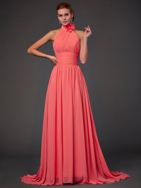 Princess Sleeveless Halter Chiffon Bridesmaid Dresses