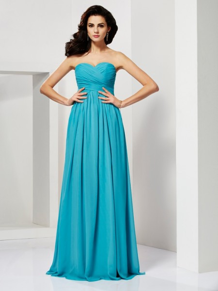 Princess Sleeveless Sweetheart Floor-Length Chiffon Dresses with Pleats