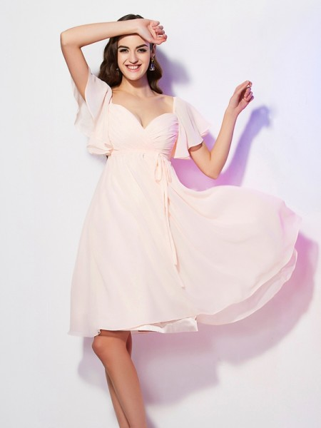 Column Sweetheart Short Sleeves Chiffon Bridesmaid Dresses with Ruffles
