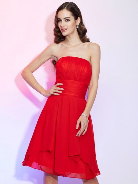 Princess Strapless Sleeveless Chiffon Knee-Length Dresses with Pleats