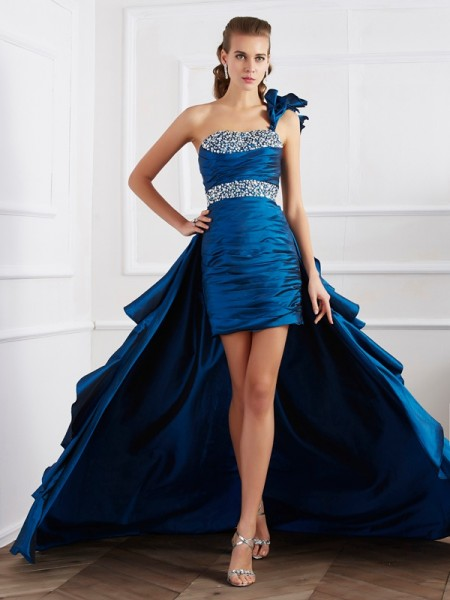 Princess Sleeveless One-Shoulder Taffeta Asymmetrical Dresses with Beading