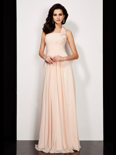Princess Sleeveless Halter Floor-Length Chiffon Dresses with Pleats