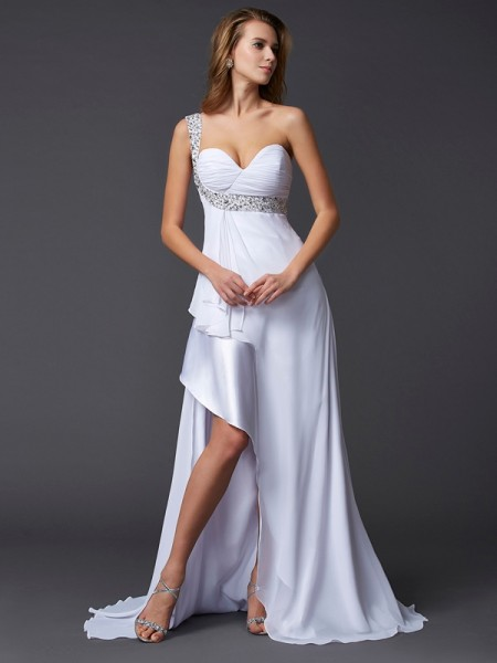 Princess Sleeveless One-Shoulder Sweep/Brush Train Chiffon Dresses with Beading