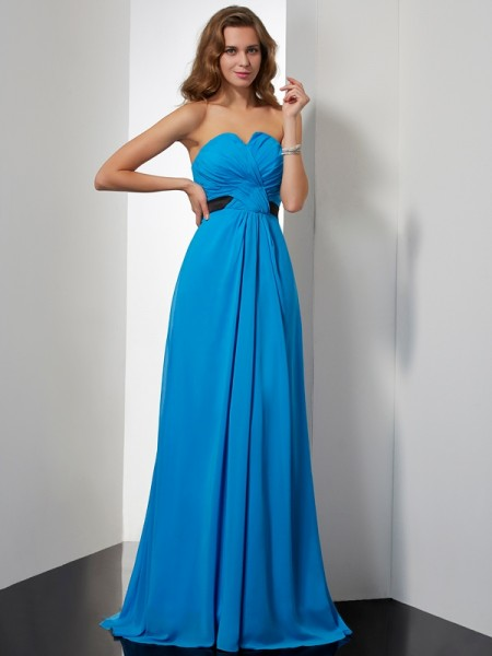 Princess Sweetheart Sleeveless Chiffon Dresses with Sash/Ribbon/Belt Pleats