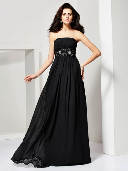 Princess Sleeveless Strapless Chiffon Dresses with Hand-Made Flower