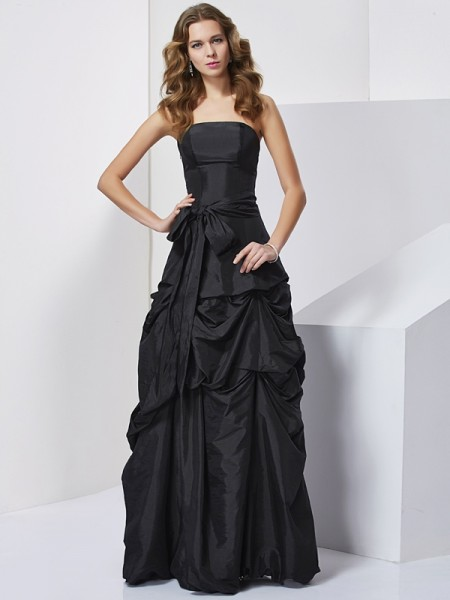 Column Strapless Sleeveless Bowknot Taffeta Long Prom/Evening Dresses