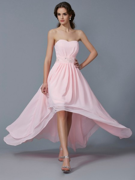 A-Line/Princess Sweetheart Sleeveless Chiffon Asymmetrical Dresses with Beading
