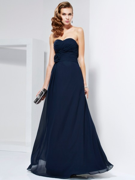 Princess Sweetheart Sleeveless Floor-Length Chiffon Dresses with Hand-Made Flower Pleats